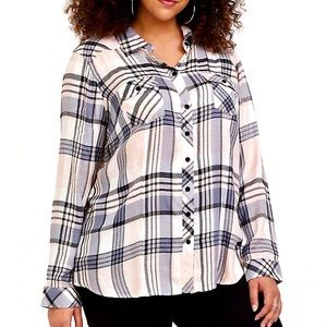 Torrid Taylor Plaid Camp Shirt Button Front Twill